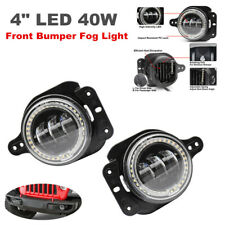 "4"" LED 40W Lamp Bumper Fog Light White Halo Projector for Jeep Wrangler JL 07-18"