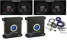 """2) MTX TNE212D 12"""" Car Subwoofer+2) Planet Audio Monoblock Amplifier+Amp Kit"""