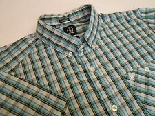 Volcom Youth Men Casual Classic Shirt Button Front Short Sleeve Blue Plaid Sz M