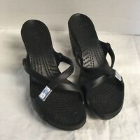 CROCS  Womens Cyprus Sandals 10 Slip On Black Strap Black Heel Comfort