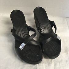 CROCS  Womens Cyprus Sandals 10 Slip On Black Strap Black Heel Comfort