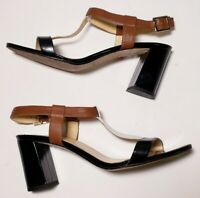 Kate Spade Women's Black/White/Brown Leather Ankle Strap Pumps Sandals! Size 8B
