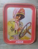 Vintage Coca-Cola Tray Girl Driving The Car Drinking Coke