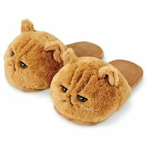 Cute Women Indoor Soft Cat Slippers Plush Flat Autumn with Bling PVC Insole Home
