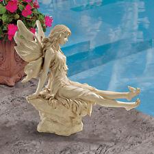 Angelic Fairy Mystical Antique Stone Finish yard garden Statue Decor New