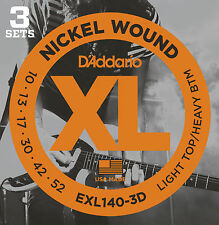 D'ADDARIO EXL140-3D NICKEL WOUND ELECTRIC GUITAR STRINGS - 3 PACK, LIGHT/HEAVY