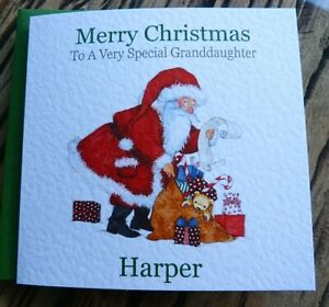 Handmade Personalised Childrens Christmas Card Santa With Toys DQ