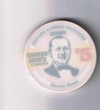 Cactus Jacks $5.00 Casino Chip Gaming Pioneer Harvey Gross Carson City Nevada