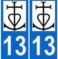 Autocollant 13 Camargue plaque immatriculation auto 13