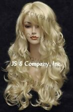 STRIKING Wig! Long Wavy Curly layered with bangs Pale Blonde 613 win