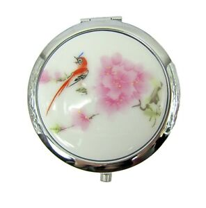 Porcelain floral top mirror travel case - opens with mirror inside- New