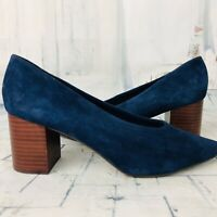 Seychelles Navy Blue Suede Leather Chunky Block Pump Heels Women's 10 ~ NWOB