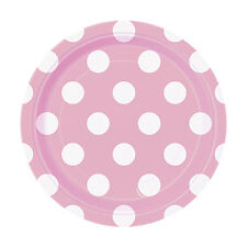 "8 Baby Pink White Polka Dot Spot Style Party Small 7"" Disposable Paper Plates"