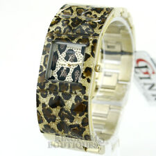 New GUESS Women's Watch Animal Glitz Bangle Gold Steel Crystals Montre NwT Reloj