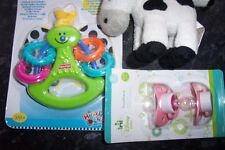 3 ASSORTED BABY ITEMS--DUMMIES-CRINKLE BUTTERFLY TOY-TOY COW