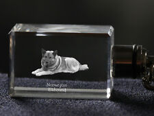 Norwegian Elkhound, Crystal Keyring, Keychain, High Quality, Crystal Animals Usa