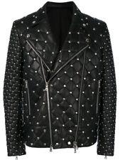 Nouveau Hommes BALMAIN fashion complète matelassé noir et clous Veste en cuir