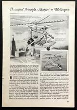 Harry Nelson Autogiro Helicopter concept 1931 graphic pictorial Autogyro