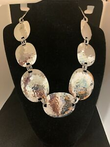 Necklace, Artisan Collection of Taxco Hammered Oval Sterling Silver 18 Inch NIB