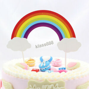 1PC Cute Big Rainbow Cloud Cake Flag Topper for Birthday Party Baby Shower Theme