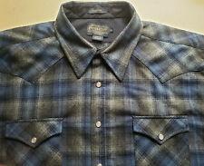 Pendleton Shirt Men's XL Canyon Western Wear Wool Pearl Snap Blue Plaid Flannel