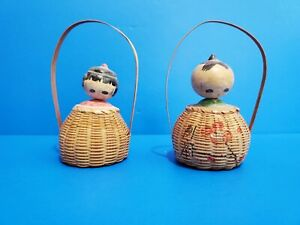 Pair of Wooden Kokeshi Nodder Bobble Head Dolls in Baskets