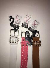 Girls Belt - 3 Belt Set Med-Pink, Med-Brown, Lrg-White