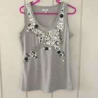 CACHE Size S Gray  Sequins Tank Top