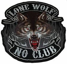 LARGE LONE WOLF NO CLUB BACK PATCH BIKE MC MOTORCYCLE REBEL FREE INDEPENDENT