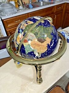 Vintage Large Gemstone World Globe Sea Brass Stand & Compass .