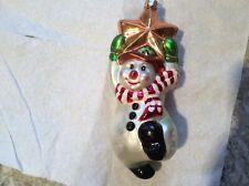 "Christopher Radko Full Size ""Swing On A Star"" Snowman Glass Ornament"