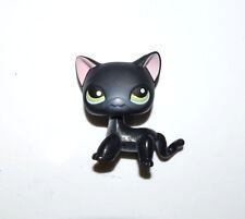 Littlest Pet Shop Green Eyes Pink Ear Shor Hair Black Cat Kitty Figure Child Toy