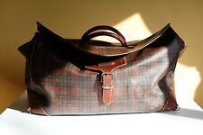 VINTAGE Ralph Lauren POLO plaid Leather & Canvas LUGGAGE BAG DUFFLE leather tag