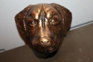 "Pottery Barn Michael Healy Bronze Golden Retriever Dog Door Knocker 5"" Wide RARE"