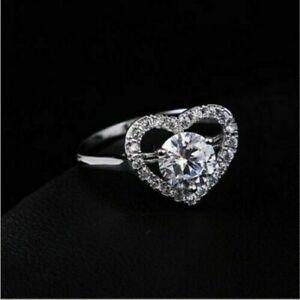 1.70 Ct VVS1 Diamond Heart Shape Engagement Wedding Promise Ring 14K White Gold
