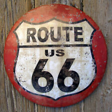 US Route 66 ROUND DOME TIN SIGN rustic vintage metal wall decor - Free Shipping!