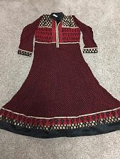 Anarkali/ Abhaya Style Indian Shalwar Kameez Suit In Red And Black