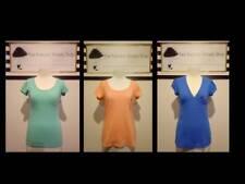 BUNDLE 3 WOMEN BLUE PEACH TOPS SINGLE COLORS SUMMER CASUAL SIMP BASIC GIRL NICE