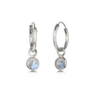 Hoop Earrings with Moonstone Charms 925 Sterling Silver