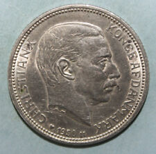 Denmark 2 Kroner 1930 Uncirculated Silver Coin - King Christian X