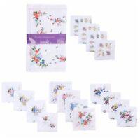 Ladies Hankies Handkerchiefs White Floral Print Cotton Polyester 8 Pack