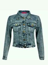 Boo Hoo Gemma Acid Wash Denim Jacket Blue Large *New *
