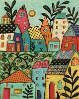 Funky Village 16 x 20 ORIG STRETCHED CANVAS PAINTING Folk Art Karla Gerard