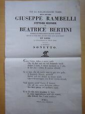 1834-Nozze GIUSEPPE RAMBELLI Pittore e BEATRICE BERTINI-FORLI