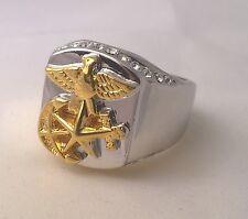 G-Filled Men's 18k gold simulated diamond ring eagle hawk anchor starfish animal