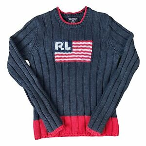 Vintage Polo Jeans Co. Ralph Lauren Flag Sweater Womens Small Heavyweight 90s