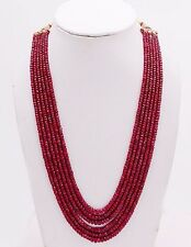 """Ebay 100% Natural 6 Strand Ruby Faceted Gemstone Beads Necklace 18"""" 575 Carat."""