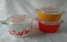 Pyrex Cinderella Friendship Bake Serve Store Set 470 Bowls Lids Red Orange Birds