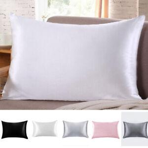 Soft Silk Pillowcase Luxurious Standard Queen King Home Bedding Pillow Cover HOT