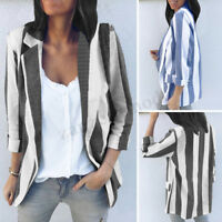 ZANZEA 8-24 Womens Striped Long Sleeve Skinny Suit Coat Jacket Blazer Outwear